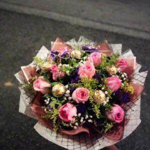 Pink Rose Flower And Chocolate Bouquet