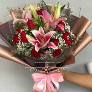 Fresh flower bouquet of red rose mix of colors