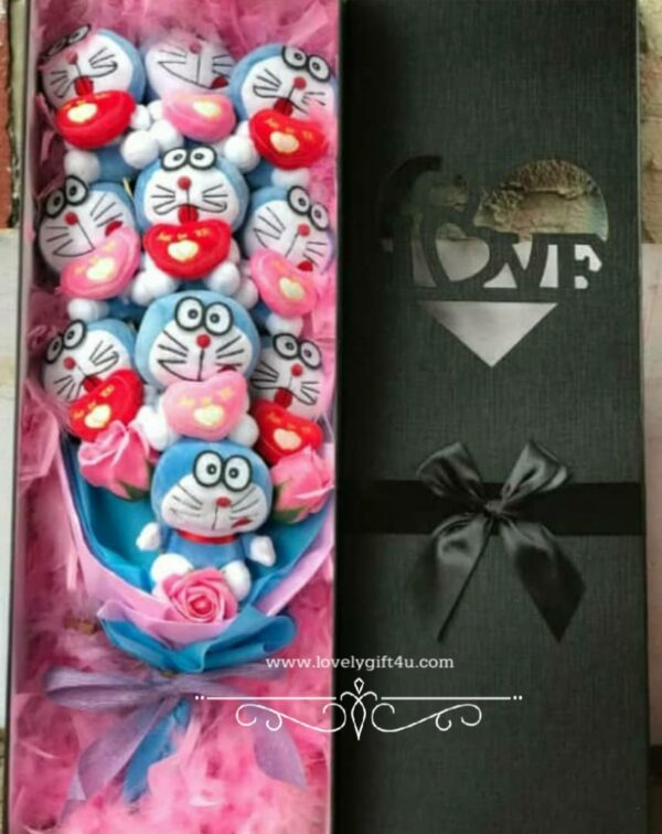 Flower bouquet with transparent gift box