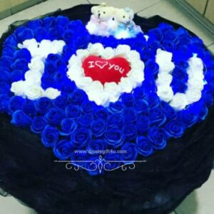 Charming Blue Rose with Teddy Bouquet -Valentine's Gift