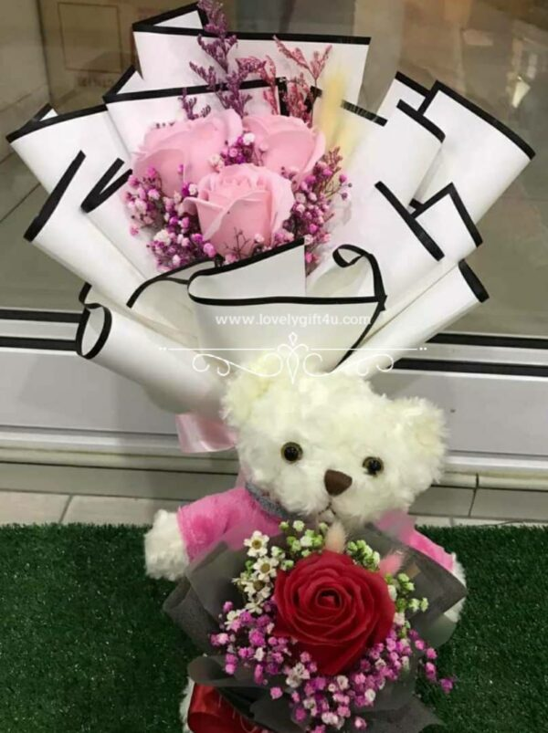 Rose with Teddy Bouquet - Valentine Gift